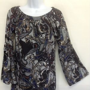 Win Win Women's Tunic Paisley Bell Sleeve Top